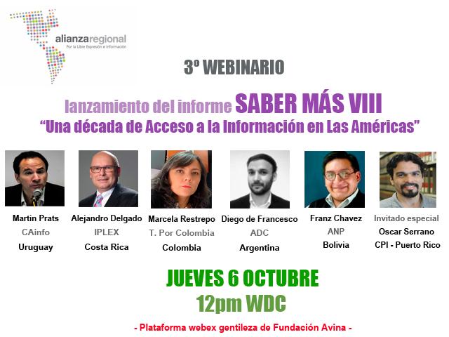 """Lanzamiento de Saber Más VIII: """"Una década de acceso a la Información en las Américas"""""""