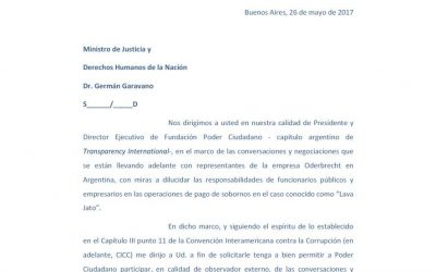 Solicitud al Ministro de Justicia y Derechos Humanos de la Nación para observar las negociaciones relativas al caso Oderbrecht